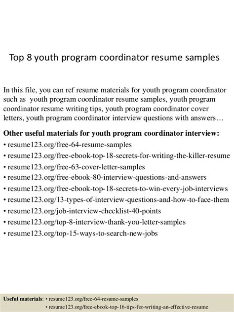 Resume For Youth Program Coordinator by Top 8 Youth Program Coordinator Resume Sles