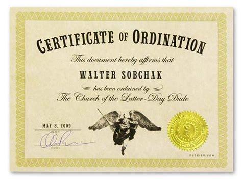 ordination form dudeism