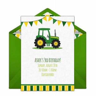Birthday Tractor Invitations Party Deere John Farm