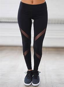 Womenu0026#39;s Mesh Panel Solid Skinny Fit Sports Leggings - NOVASHE.com