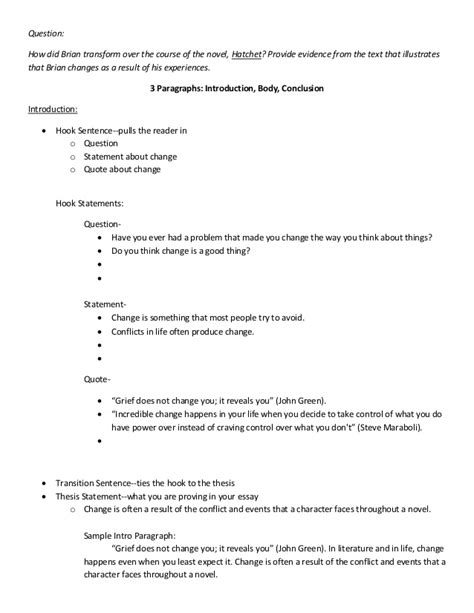 Hatchet Essay by Essay Brian S Change Planning Page Notes