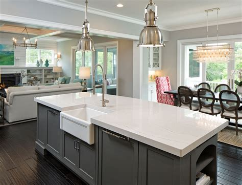 kitchens with 2 different color cabinets 15 stunning quartz countertop colors to gather inspiration