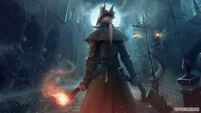 Bloodborne Dark Wallpapers Souls Moon Warrior Hunter