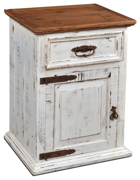 White Distressed Nightstand by Rustic Solid Wood Distressed White Nightstand Farmhouse