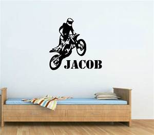 cp69 custom name vinyl decals motorbike motocross wall With dirt bike wall decals for home decorating