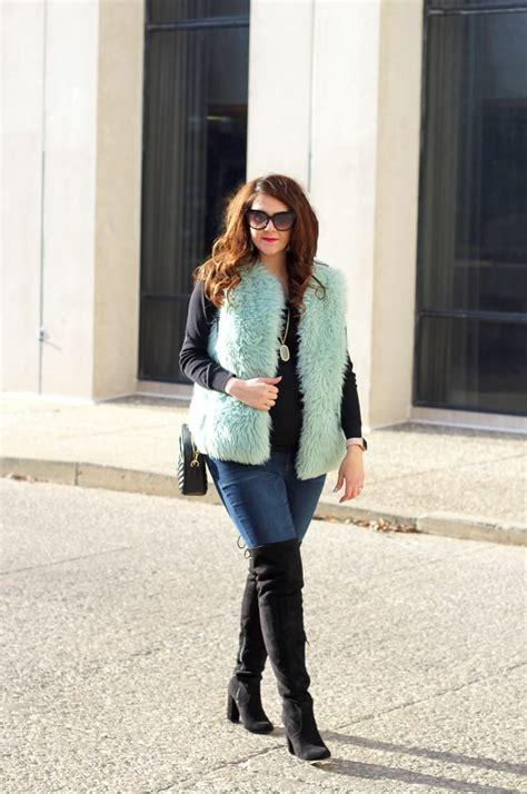 wear statement clothing aqua faux fur vest