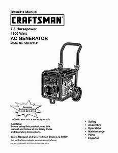 Craftsman Portable Generator 580 327141 User Guide