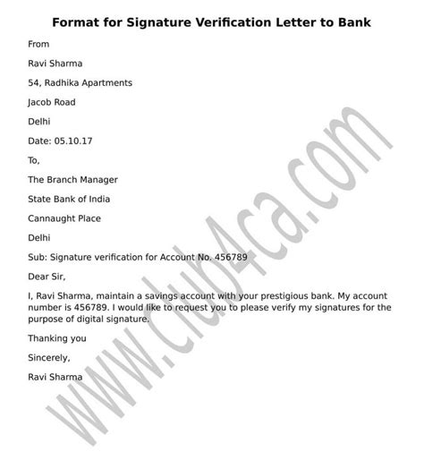 signature verification letter  submit  bank ca club