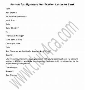 signature verification letter to submit to bank ca club With letter to bank for signature verification