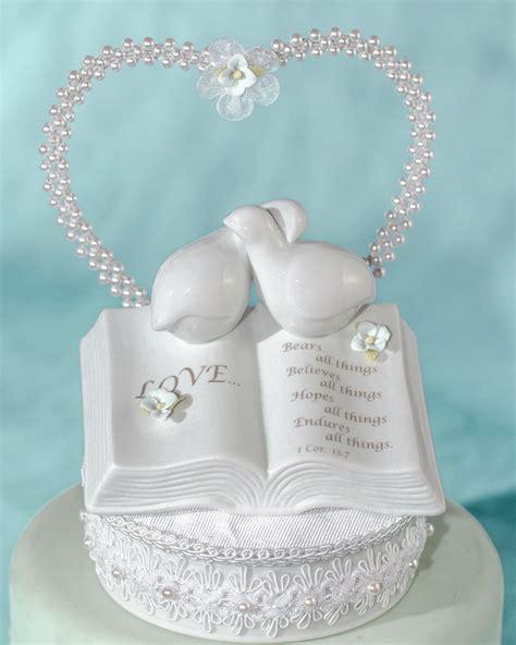 love verse bible cake topper  doves  hydrangea accents