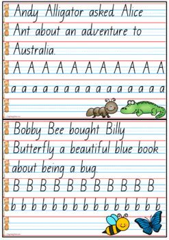 handwriting copy cards queensland beginners font year