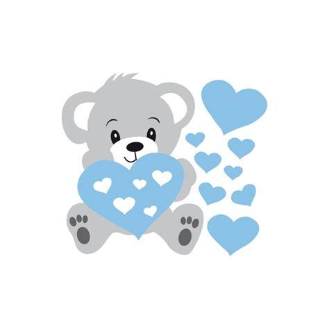 stickers nounours gris et coeurs bleus pour bébé garçon