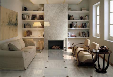 sophisticated living room brown white floor tile