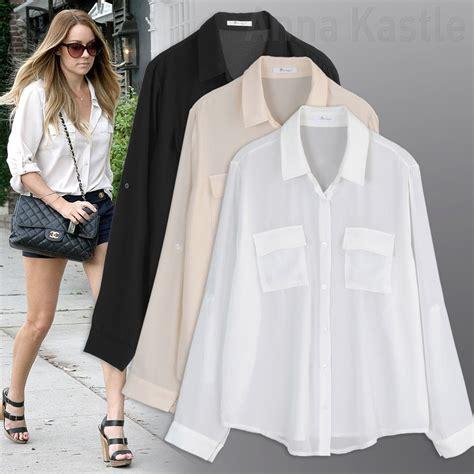 sheer chiffon blouse annakastle womens semi sheer chiffon button