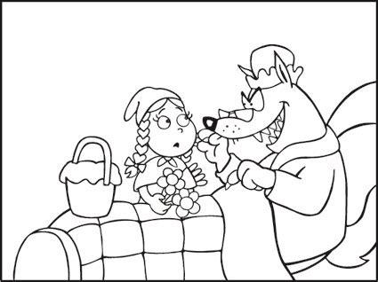 favole  bambini disegni da colorare cappuccetto rosso