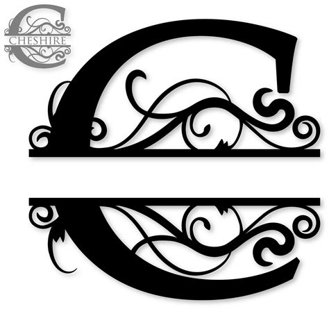 letter c monogram template c split monogram sds c split monogram 0 99