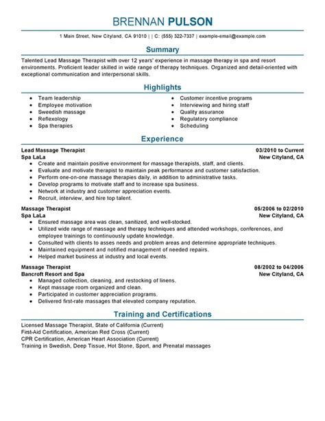 Spa Therapist Resume Templates unforgettable lead therapist resume exles to