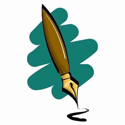 Pen Fountain Clipart Clip Writing Feather Pens