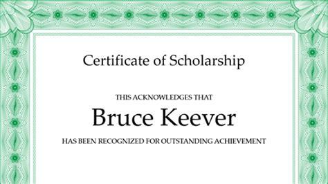 certificate  scholarship formal green border