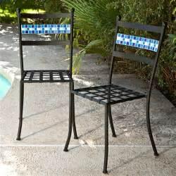 set of 2 black powder coated iron metal patio bistro