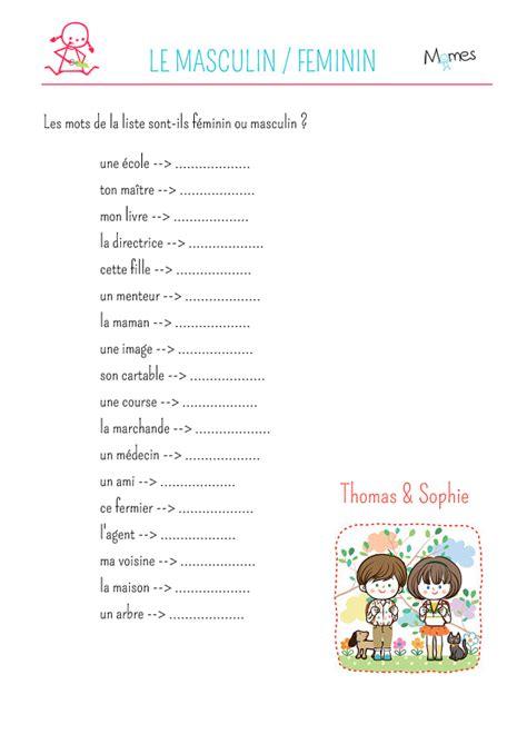 cuisine en equilibre exercice de grammaire noms féminins et masculins 2