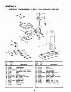 Craftsman 113213850 User Manual 15 Inch Drill Press