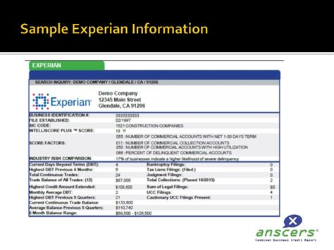 multi bureau anscersx multibureau business trade credit report presentation