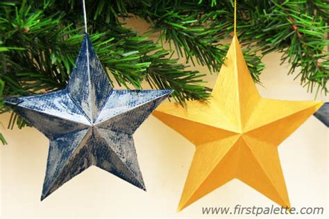 how to make 3d star and balls 3d paper craft crafts firstpalette