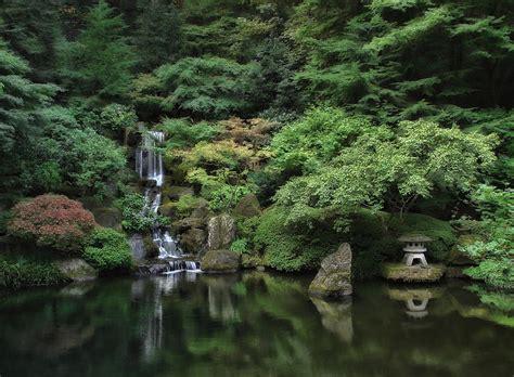 waterfall portland japanese garden oregon photograph