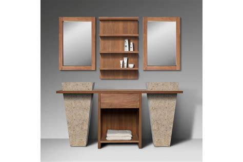salle de bain 2 vasques ensemble meuble de salle de bain teck massif recycl 233 1 tiroir avec 2 vasques sur pied 2 miroirs