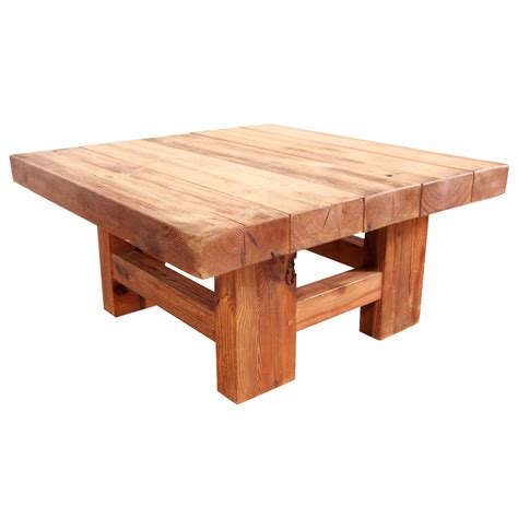 rustic wood table ls rustic wood block square coffee table at 1stdibs