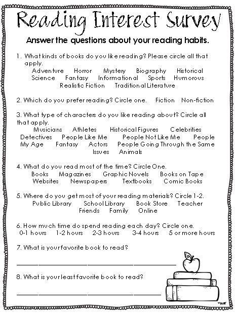 Best 25 Reading Interest Survey Ideas On Pinterest Interest Survey Reading Interest - best 25 reading interest survey ideas on pinterest interest survey reading interest