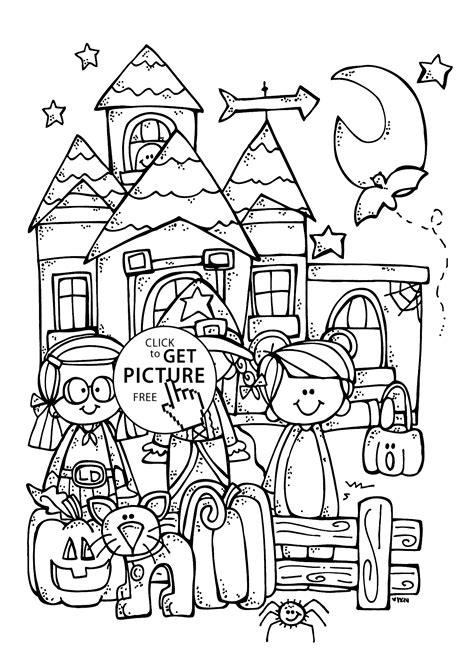 Funny kids and Halloween coloring page for kids printable