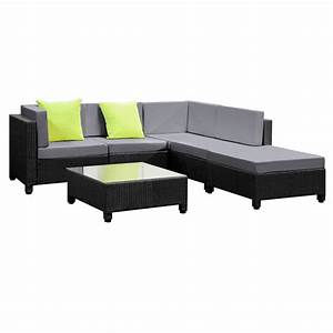 Rattan Lounge Set : 6 pcs black wicker rattan 5 seater outdoor lounge set grey ~ Orissabook.com Haus und Dekorationen