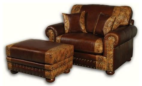 western leather ottoman rustic footstools and ottomans