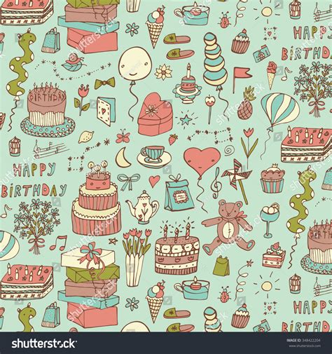 happy birthday pattern stock vector 348422204