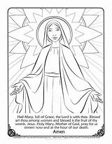 Mary Coloring Catholic Pages Catechism Religious Hail Prayer Jesus Prayers Pray Saints Roman Crafts Sunday Discover Below sketch template