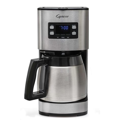 It also has a stainless steel thermal carafe. Capresso ST300 Coffee Maker - 10 cup w/Thermal Carafe - Espresso Planet Canada