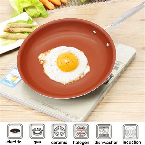 nonstick skillet copper pan   cookware oven dishwasher safe ceramic pan  stick frying