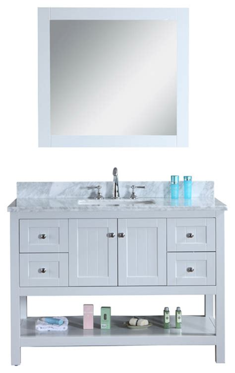 emily 48 quot quot cottage style bathroom vanity with carrara