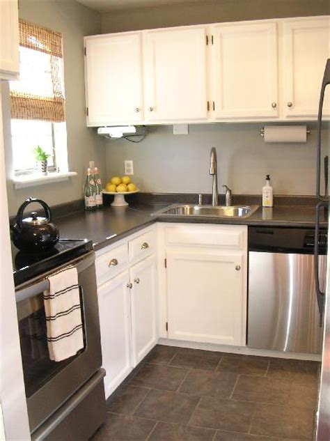 White Cabinets Gray Countertops by Grey Laminate Countertops Transitional Kitchen