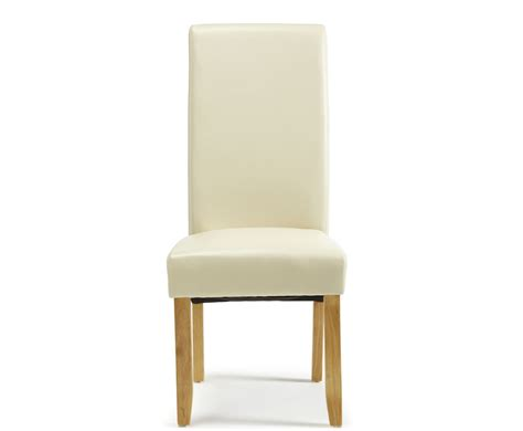 rushton cream faux leather  oak dining chairs