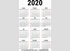 Calendario, 2020 Semana, simple, comienzos, blanco, fondo