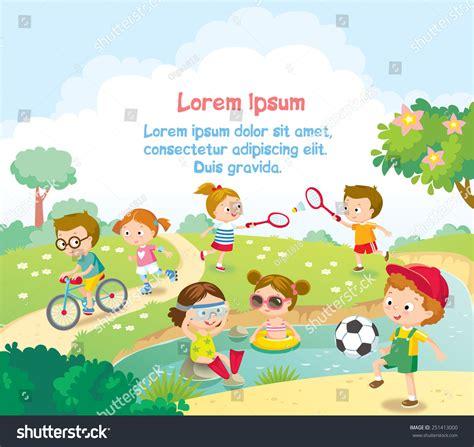 childrens summer activities stock vector