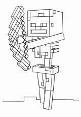 Coloring Minecraft Skeleton Hoe sketch template