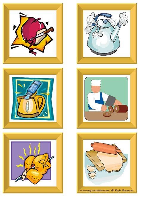 cooking verbs esl printable english flash cards worksheets