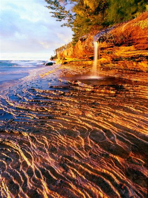 Miners Beach Falls In The Pictured Rocks Area Of Michigan