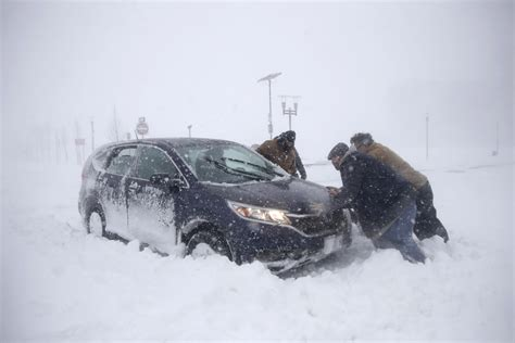 powerful snowstorm brings travel   standstill