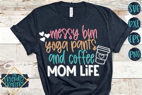Vector woman silhouette with beautiful eyelashes. Messy Bun Yoga Pants and Coffee Mom Life - A Mom SVG ...