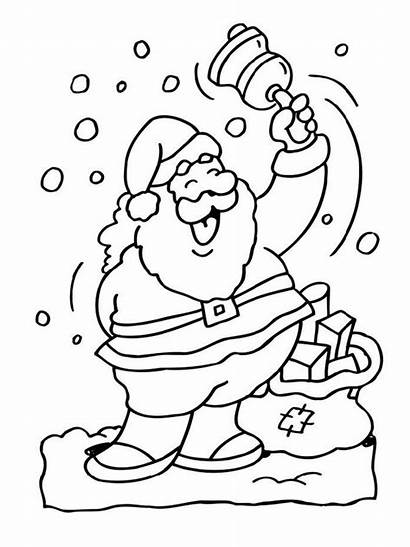 Santa Coloring Pages Christmas Bell
